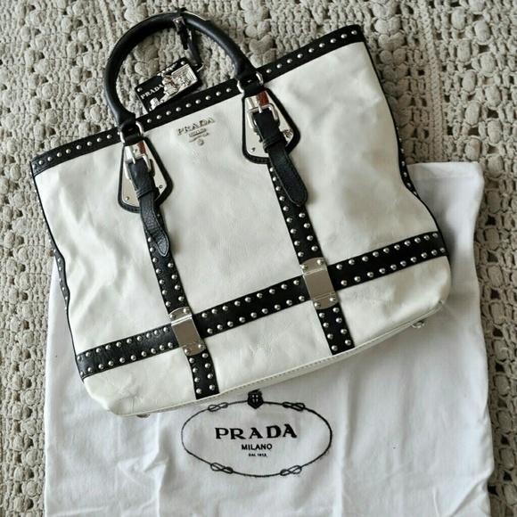 a780b4ddbaac Prada Bags | Authentic White Nappa Leather Studded Tote | Poshmark